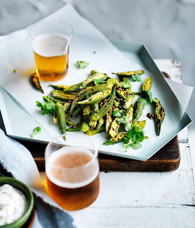 Spiced okra with yoghurt recipe :: Gourmet Traveller