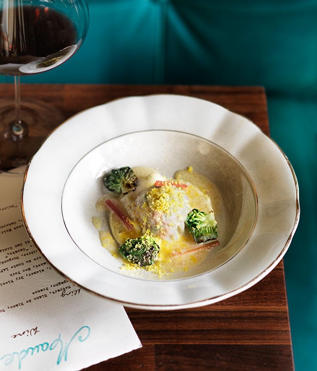 duck raviolo with finger lime beurre blanc and caramelised brussels sprouts - Bur Blanc Recipe