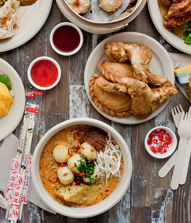 Alex Lee Kitchen's katong laksa & Old Jim Kee's curry puffs and chicken wings