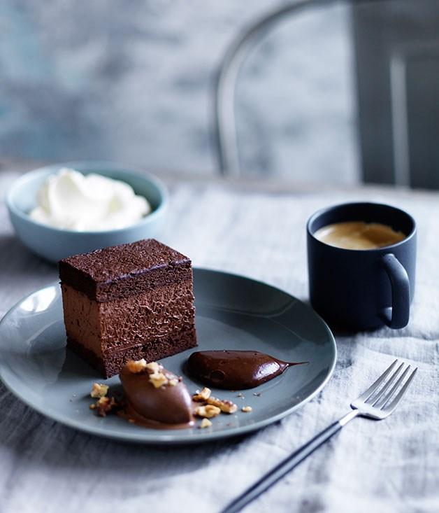 Dark chocolate délice, salted-caramel ganache and chocolate sorbet ...