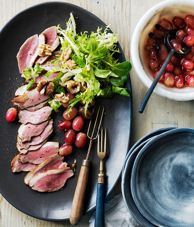 Smoked duck breast with pickled grapes recipe :: Gourmet Traveller