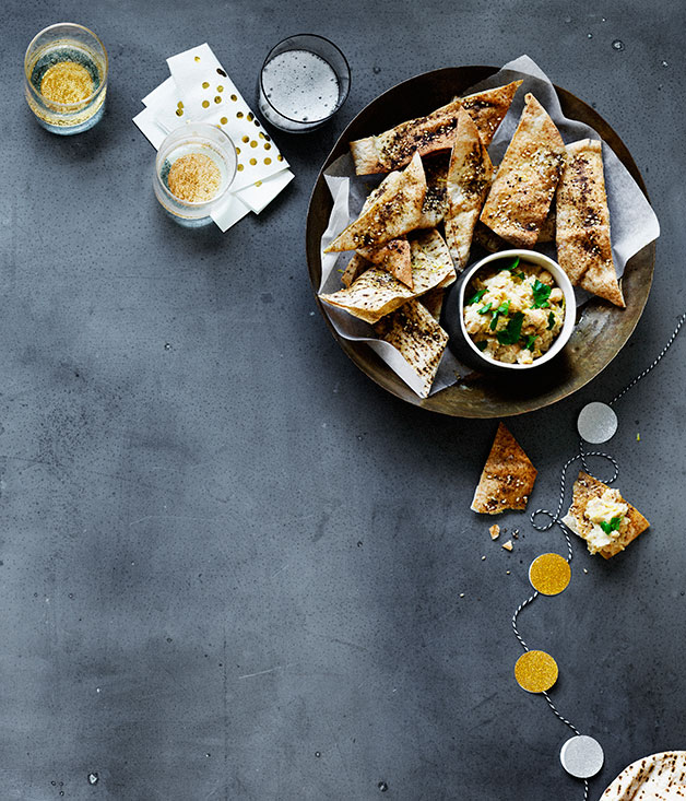 Flatbread crisps with chickpea dip