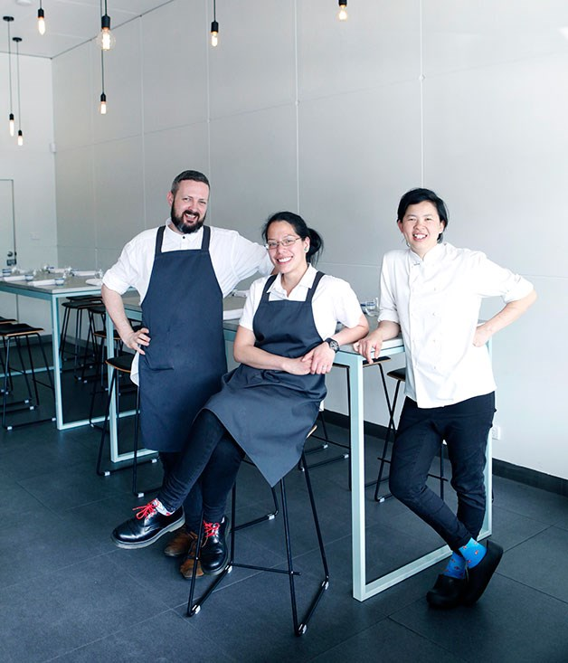 Chef-owner Thi Le (right), co-owner Jia-yen Lee (centre) and manager Ted James.