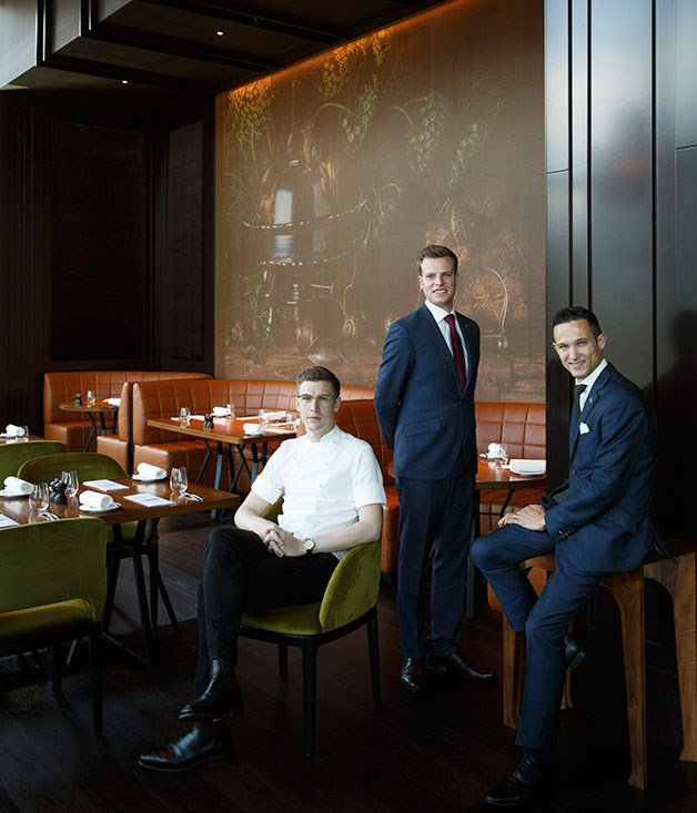 Chef Evan Moore, general manager Jonno Forbes and sommelier Loic Avril
