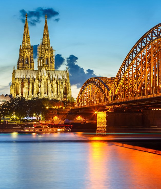 Cologne Cathedral and Hohenzollern Bridge over the Rhine, Germany