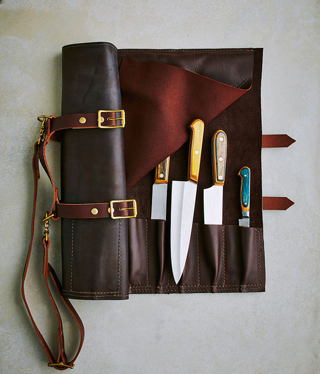 Eight-pocket knife roll from Maka, Handmade knives from Skate Shank.