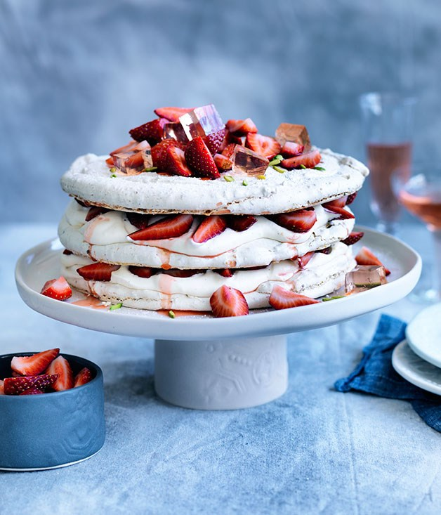 Pistachio and strawberry vacherin