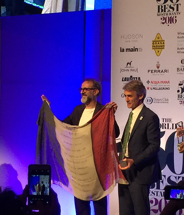 Massimo Bottura accepting his award for world's number one