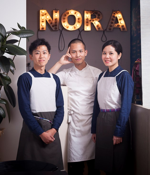 Sommelier Kentaro Emoto, chef-owner Sarin Rojanametin and owner Jean Thamthanakorn.