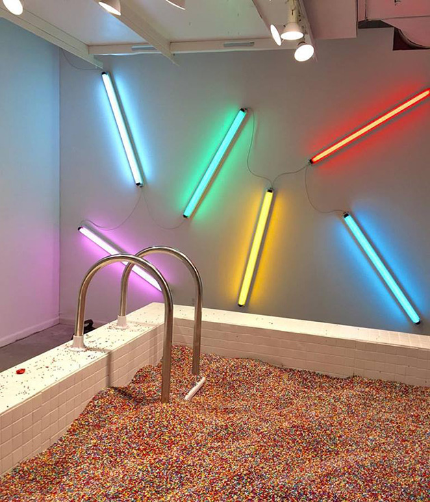 The museum's rainbow sprinkles pool
