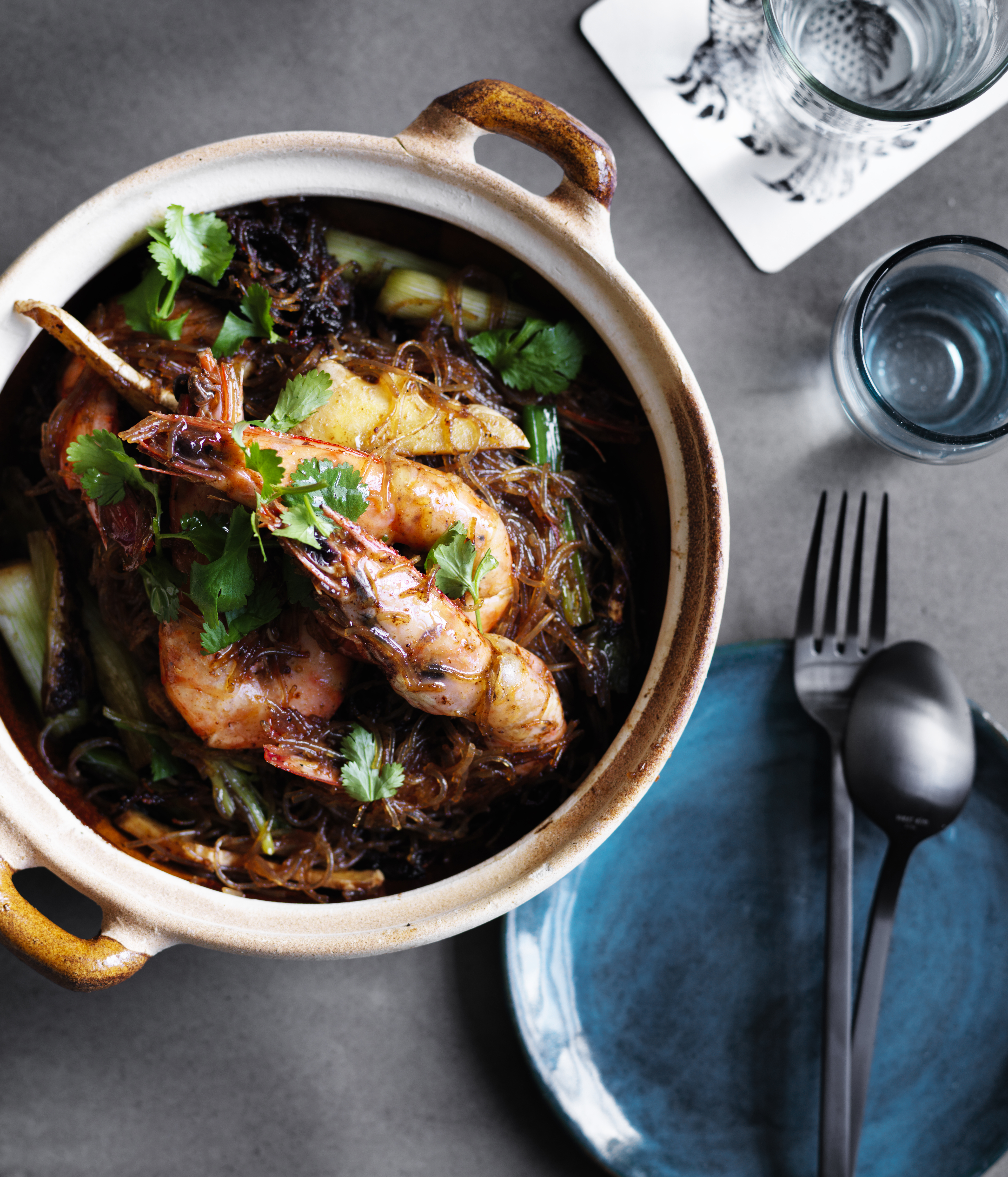 David Thompson's prawns baked with vermicelli