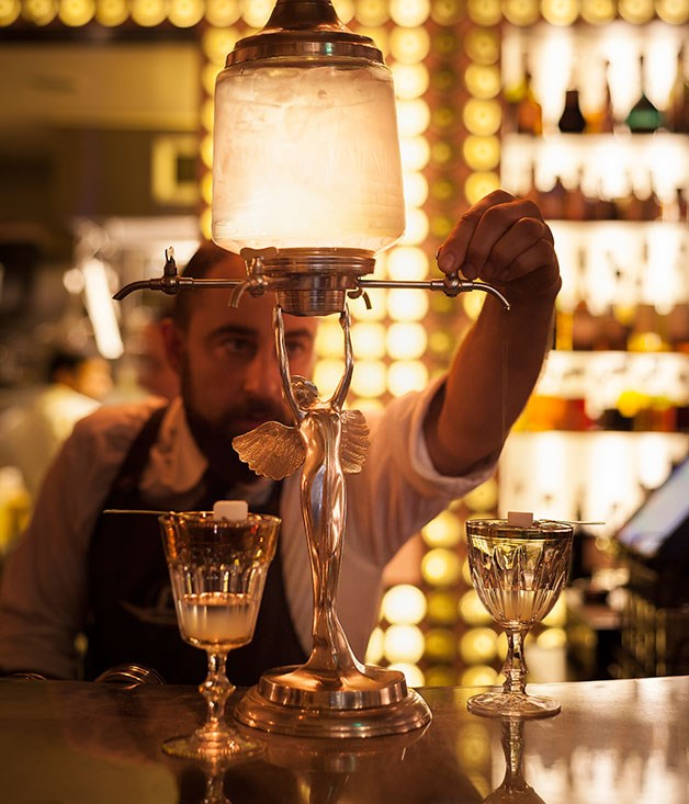 The absinthe fountain at Bar Ampère