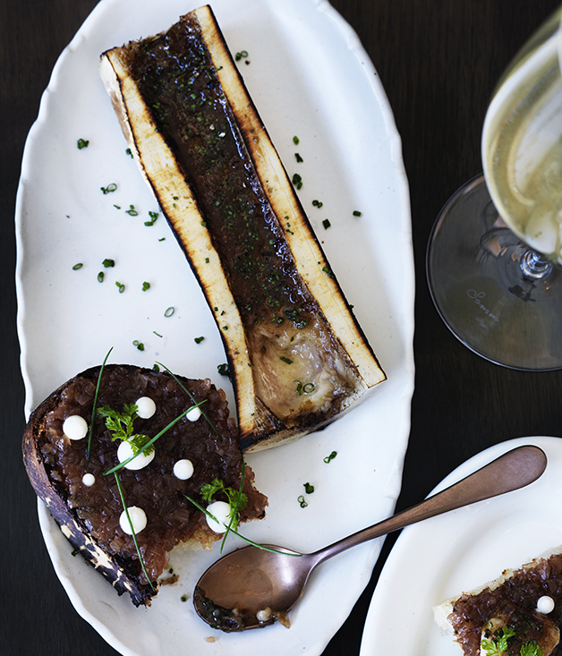 Roasted bone marrow with sweet and sour shallots and buttermilk