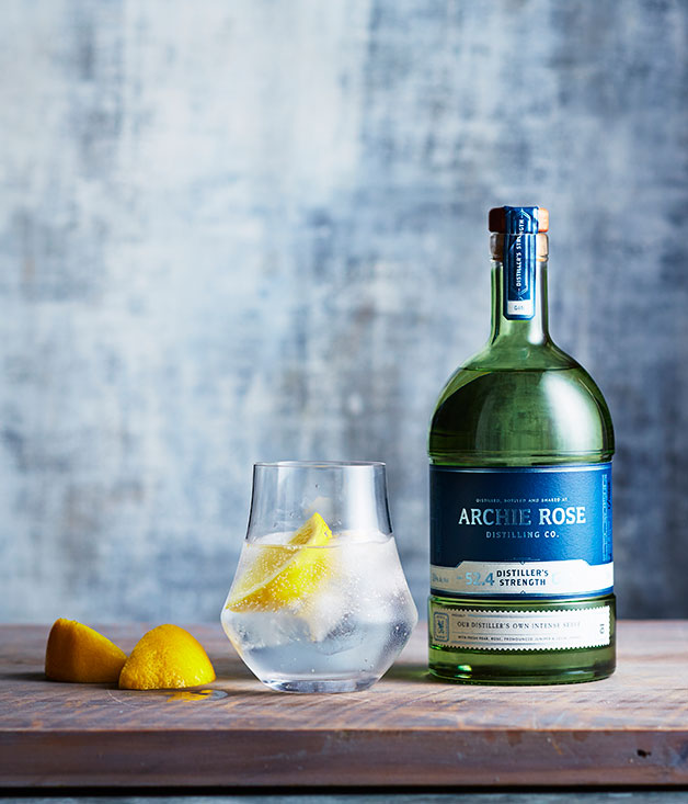 ARCHIE ROSE'S DISTILLER'S STRENGTH GIN, AND A G&T MADE IN A DENVER & LIELY GIN GLASS