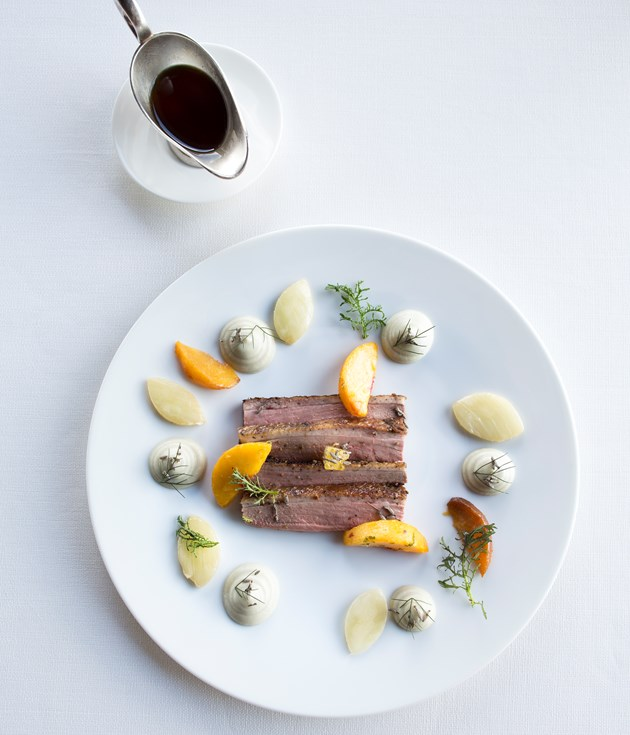 Duckling breast with apricots and almonds at La Tour d'Argent