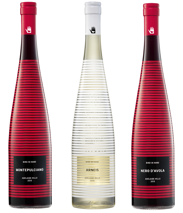 Bottles designed by Dion Lee for Bird in Hand wine