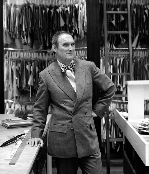 AA Gill photographed at Savile Row tailors Anderson & Sheppard for the June 2012 issue of Gourmet Traveller.