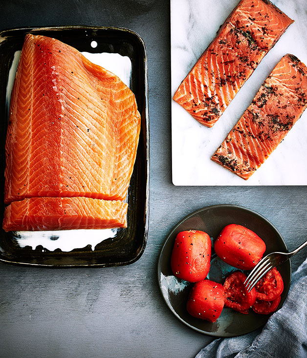 Tom Cooper ocean trout, gravlax salmon and smoked tomatoes