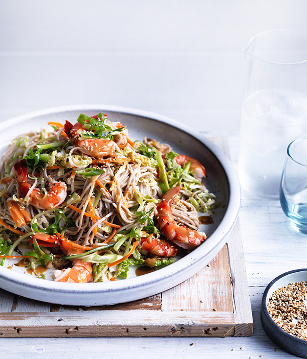 Prawn, cabbage and soba noodle salad