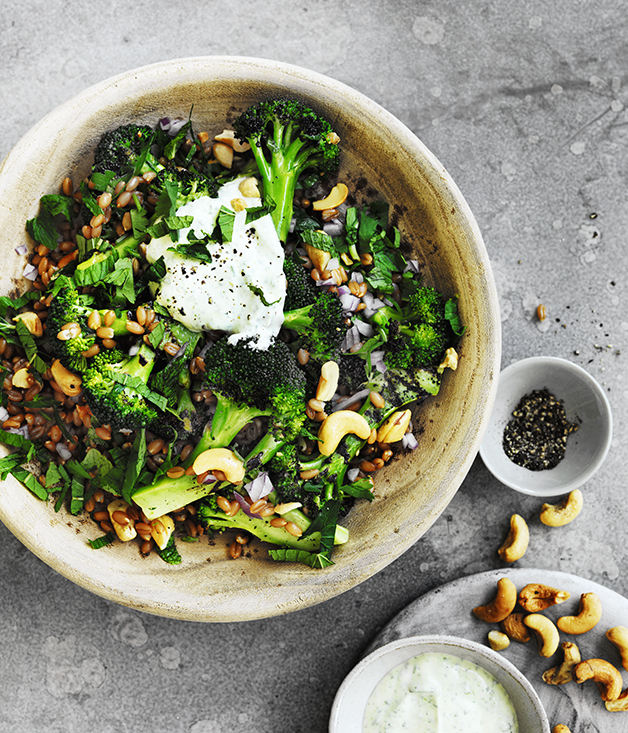 Spelt cashew and broccoli bowl with yoghurt dressing