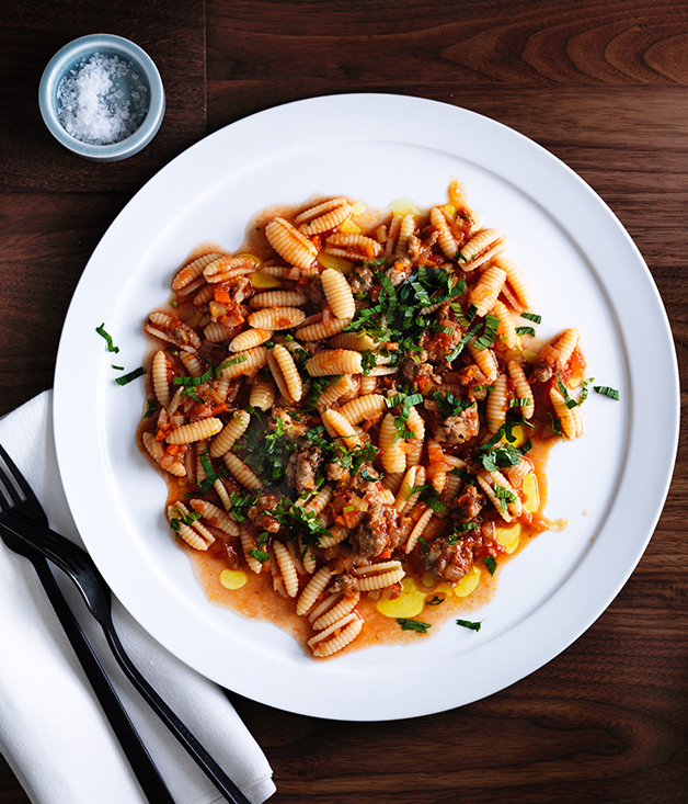 Luca's gnocchetti Sardi with pork and fennel sausage ragu, anchovy and mint