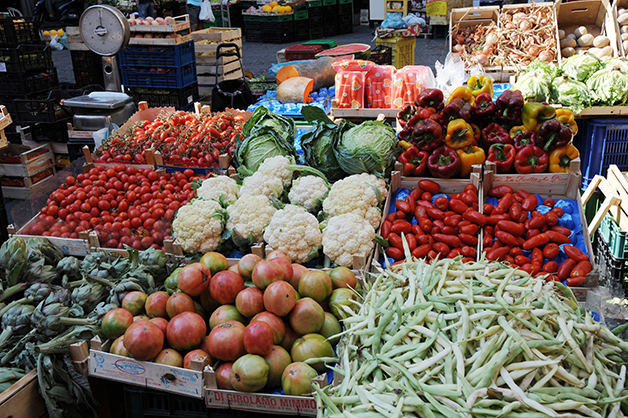 Fresh produce at La Pignasecca, the oldest street market in Naples