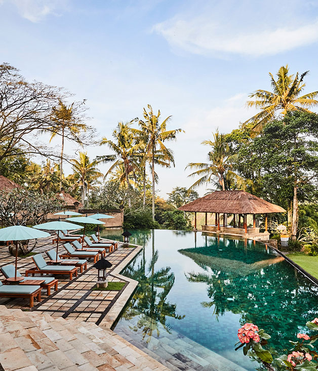 The saltwater pool at Amandari resort, on the outskirts of Ubud, Bali