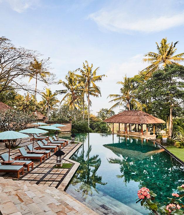The saltwater pool at Amandari resort, on the outskirts of Ubud, Bali