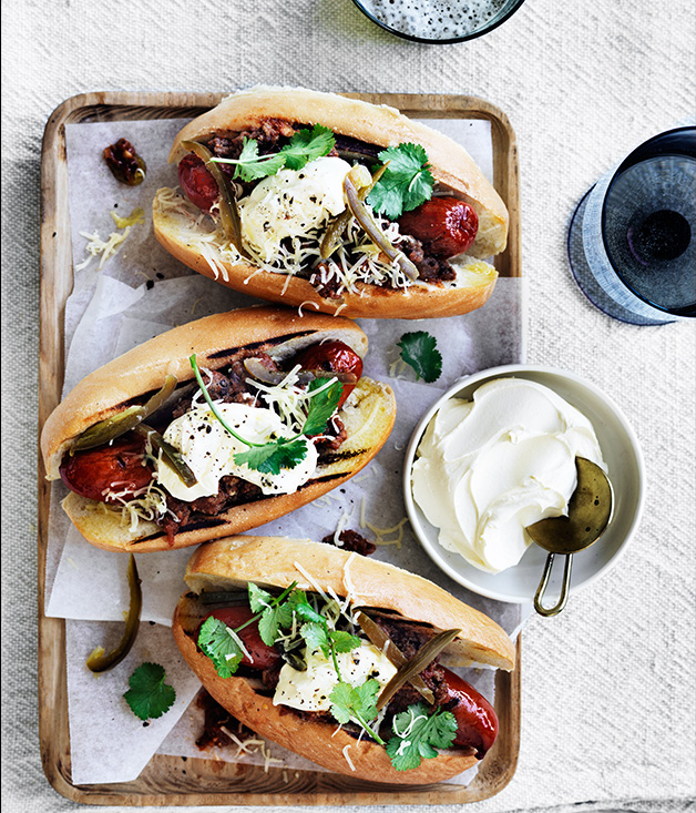 Chilli dogs with pickled jalapeno and coriander