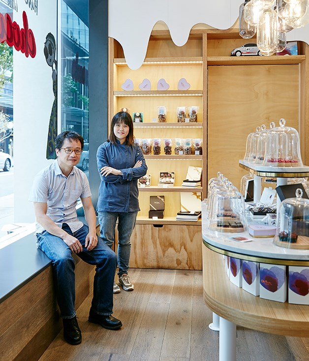 Brother and sister team Alex and Fanny in their Sydney chocolate boutique, Oh! Boo.