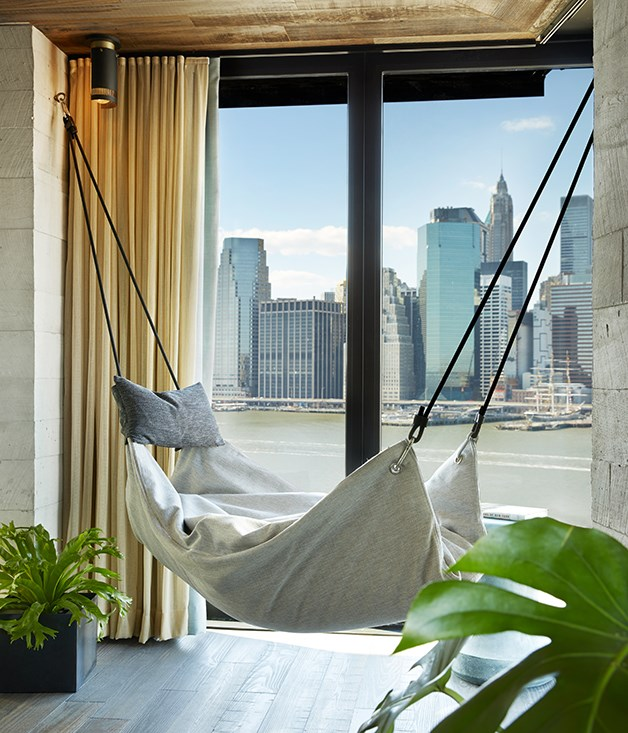 A hammock in the Skyline 1 Bedroom Suite at 1Hotels Brooklyn Bridge