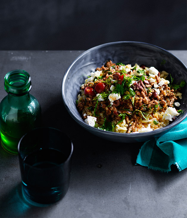 Lamb with orzo and olives