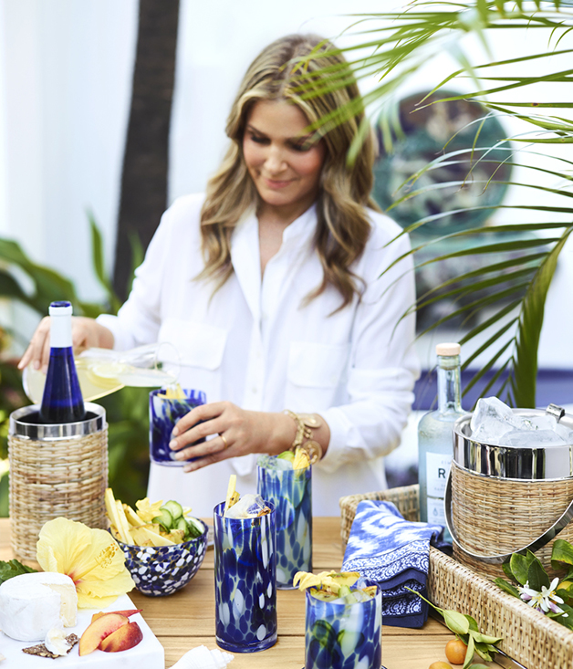 Aerin Lauder with the confetti glasses from her new homewares collection.