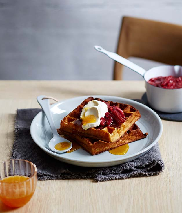 Cornersmith's buttermilk waffles with rhubarb and rose compote