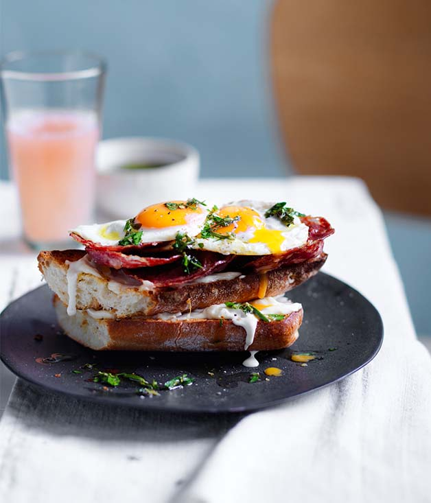 Fried egg and salami sandwich