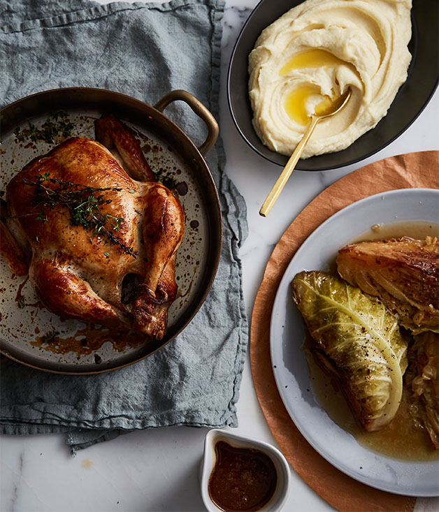 Epocha's roast chicken, braised Savoy cabbage, prune and butter sauce