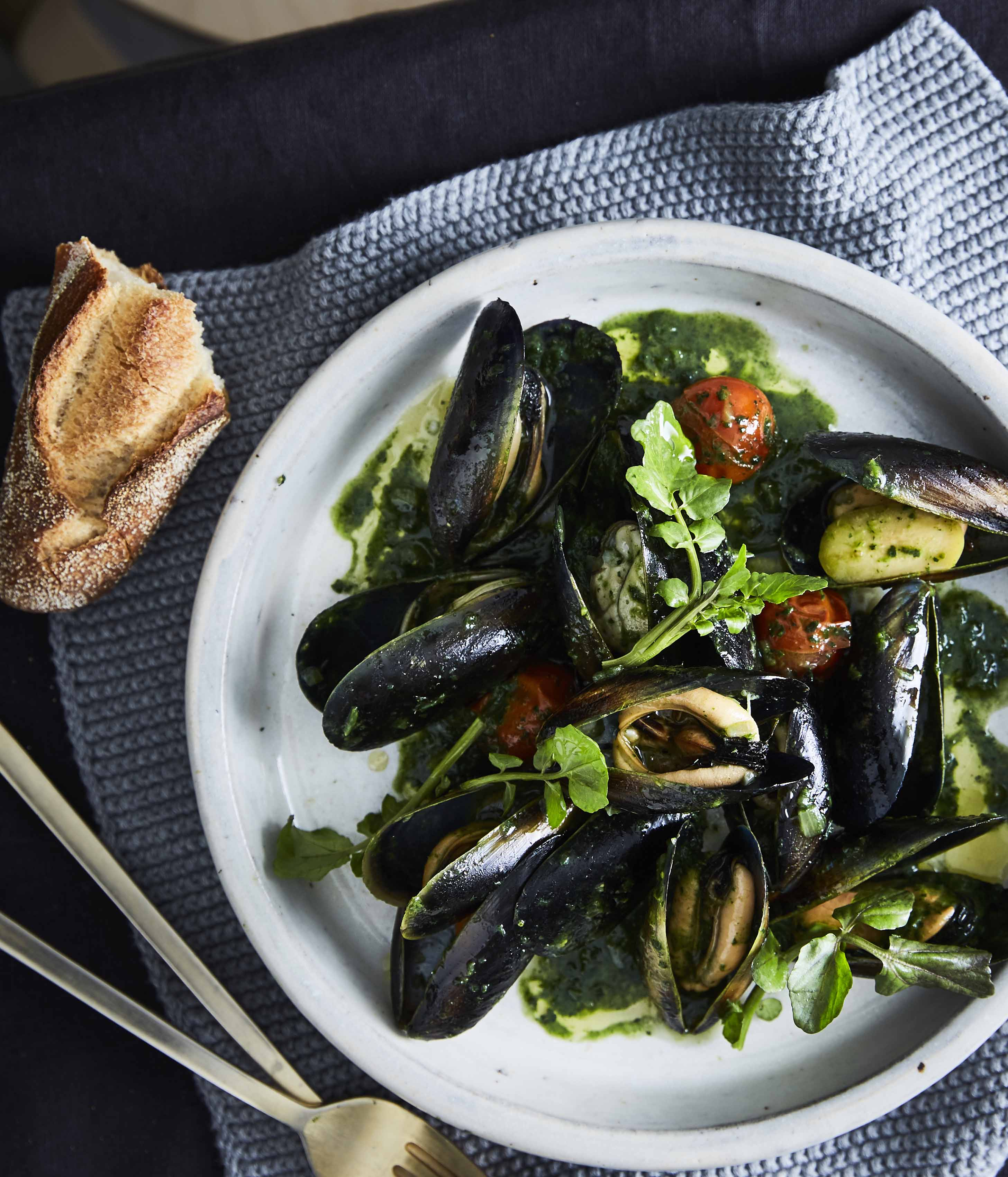 Banksii's mussels with vermouth, green olives and nettle butter