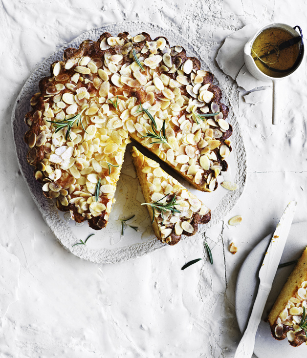Ricotta-polenta cake with lemon-rosemary syrup
