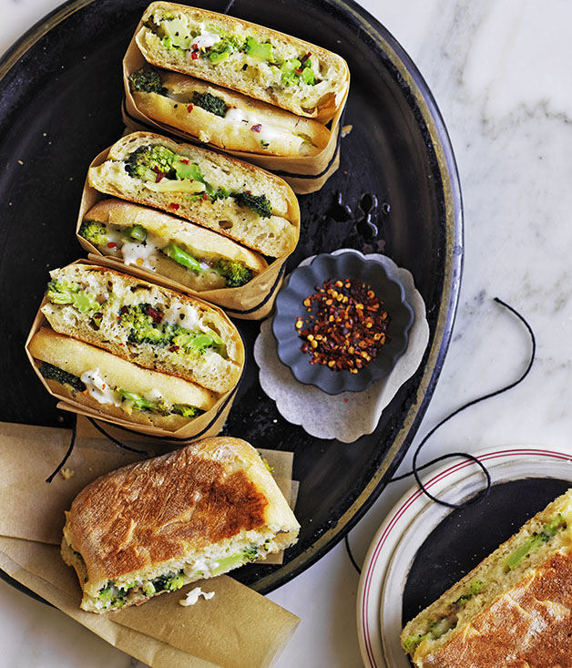 Broccoli, lemon, anchovy and stracchino ciabatta rolls