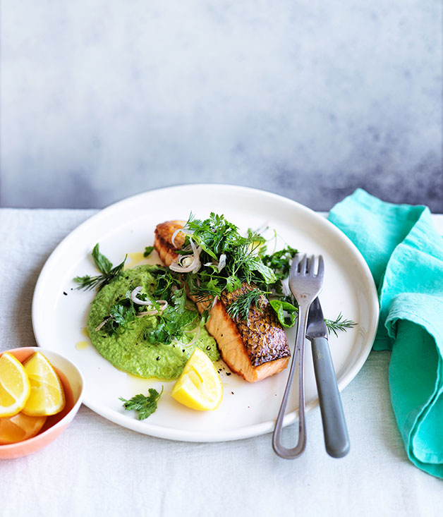 Crisp-skinned salmon with pea puree and softherb salad