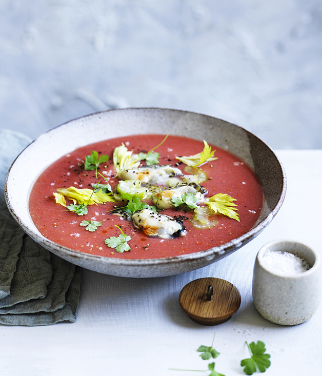 Gazpacho with pickled celery and oysters