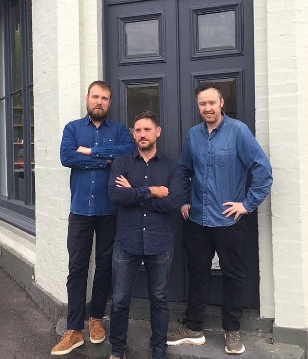 Travis Howe, Andrew Joy and John Paul Twomey in front of Carlton Wine Room.