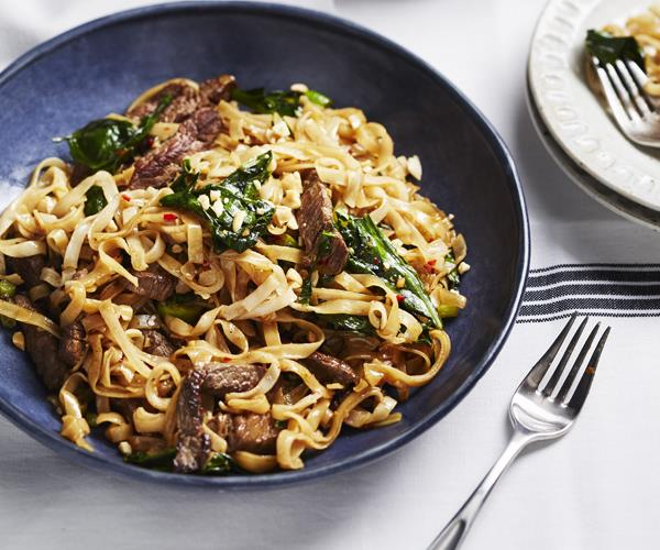 Stir Fried Beef And Gai Lan With Rice Noodles Recipe Gourmet Traveller