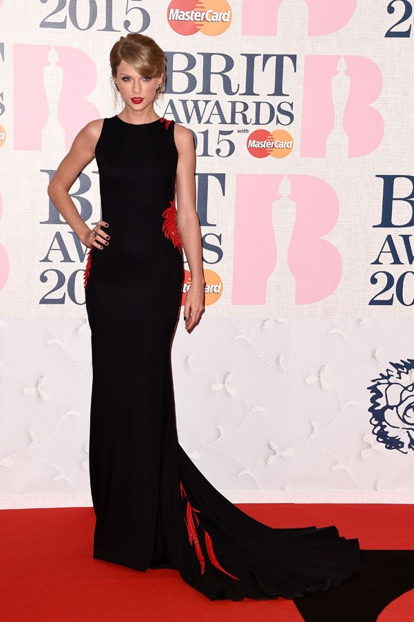 Taylor Swift in Roberto Cavalli at the BRIT Awards