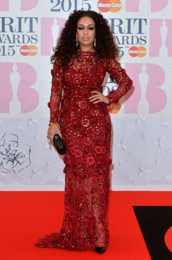 Singer Rebecca Ferguson in a red Yuvna Kim dress.