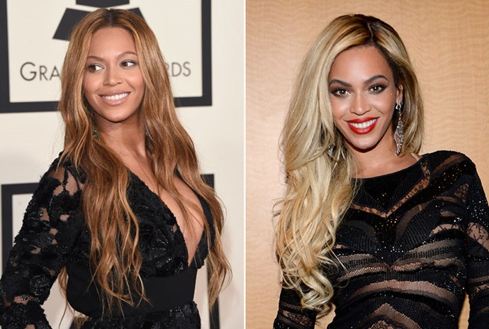 <strong>Beyoncé</strong> <br>Beyoncé is one of the finest hair chameleons in the business. Being able to pull off her icy new 'do against her caramel skin is a testament to her versatility in the beauty stakes.