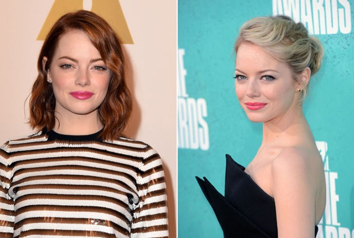 <strong>Emma Stone</strong> <br>While Emma Stone is a natural blonde, she certainly wasn't born platinum blonde. Still, she flits from her well-loved auburn hues to this silvery stranded 'do seamlessly.