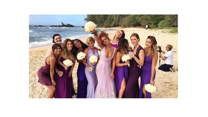 <strong>Rihanna</strong> <br><br>Bad Girl Riri certainly brought the fun to this bridal party.