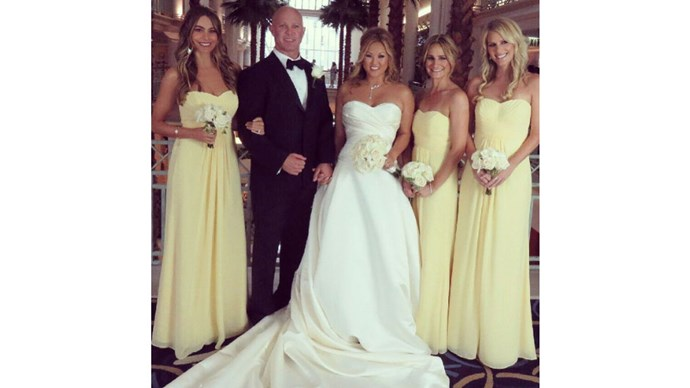 <strong>Sofia Vergara</strong> <br><br>The <em>Modern Family</em> start beamed in buttercup yellow, to celebrate her close friend's wedding.