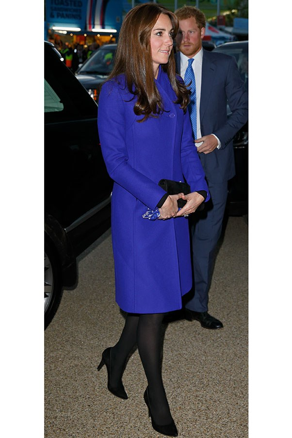 Kate opted for a blue Reiss coat to attend the opening ceremony of the Rugby World Cup, her second outing sans children.